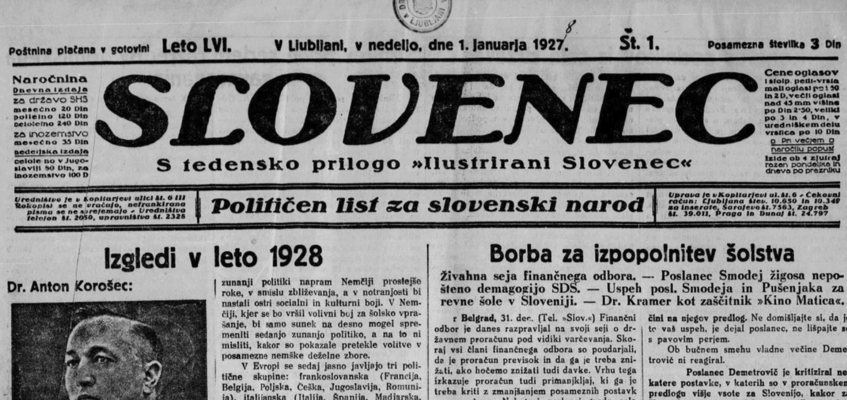 slovenec, 1, 1927
